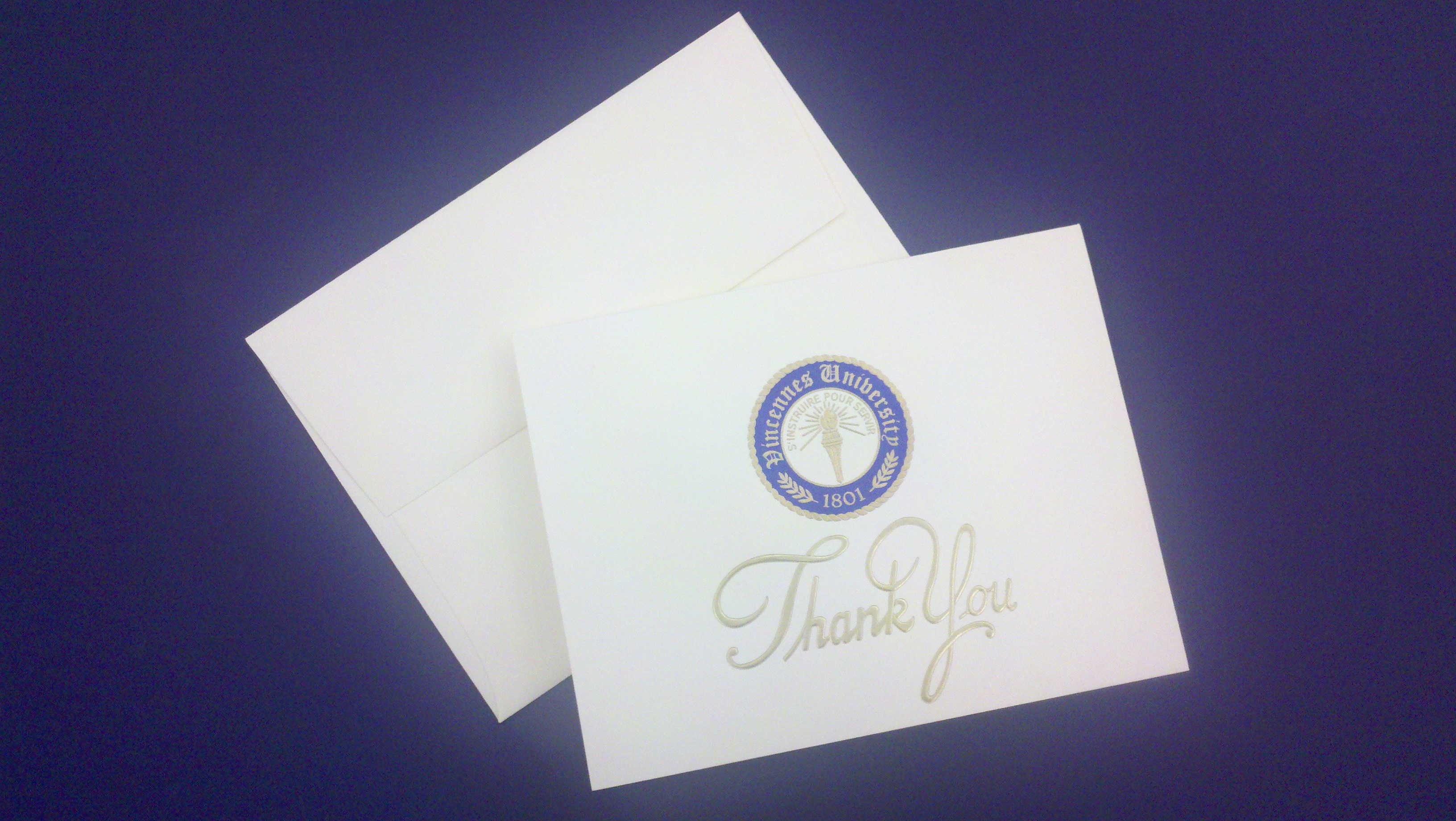 Image For VU THANK YOU CARDS
